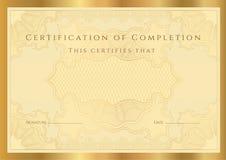 Diploma del certificado de la realización (modelo) Foto de archivo