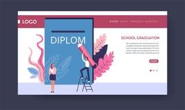 Diploma del grado de la graduación de la escuela que recibe la plantilla de la página web stock de ilustración