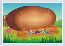 Diploma del niño - estilo de madera stock de ilustración