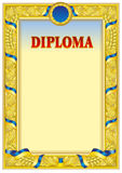 Diploma design template. Empty diploma template with vintage frame border, ribbon ele,ents and decorative details around empty text area Royalty Free Stock Photos