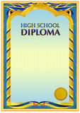 Diploma design template. Empty diploma template with vintage frame border, ribbon ele,ents and decorative details around empty text area Stock Images