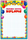 Diploma design template. Empty diploma template with vintage frame border, ribbon elements and decorative details around empty text area Royalty Free Stock Image