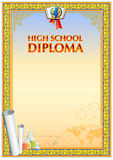 Diploma design template. Empty diploma template with vintage frame border, ribbon elements and decorative details around empty text area vector illustration