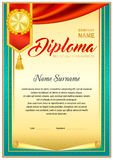 Diploma design template. Empty diploma template with vintage frame border, ribbon elements and decorative details around empty text area Stock Photos