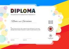 Diploma do acampamento de verão das crianças ou molde do certificado com espaço do selo ilustração do vetor