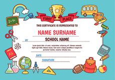 Diploma elementary school. Diploma for elementary school. Cute template with frame of cartoon school objects and symbols on blue background vector illustration