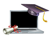 Diploma em linha do Web do Internet da instrução da graduação Foto de Stock