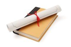 Diploma en boek Stock Afbeeldingen