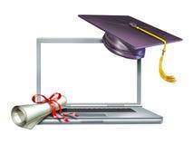 Diploma en línea del Web del Internet de la educación de la graduación Fotos de archivo