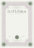 Diploma / Сertificate award template. Pattern. Certificate, Diploma of completion (design template, background) with guilloche pattern (watermark, rosette) Royalty Free Stock Photography