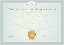 Diploma/fondo e confine blu del certificato illustrazione di stock