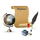 Diploma, globe, ink pot and a feather Stock Photo