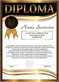 Diploma golden template. Vertical background. Winning the compet Royalty Free Stock Photo