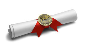 Diploma Graduate Scroll. Diploma with Graduate Medal and Red Ribbon Isolated on White Background Stock Photos