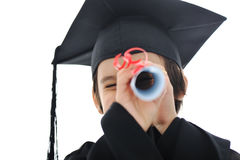 Diploma graduating little student kid Royalty Free Stock Photography