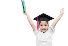 Diploma graduating little student kid, successful elementary sch. Ool, isolated on white background Royalty Free Stock Photography