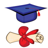 Diploma and graduation cap Royalty Free Stock Photos