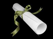 Diploma with green ribbon Stock Photography