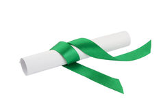 Diploma with green ribbon isolated Stock Images