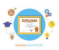 Diploma icon. Diploma flat contour icon with education symbols  on white Royalty Free Stock Images