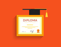 Diploma icon. With square academic cap . Flat vector illustration Stock Images
