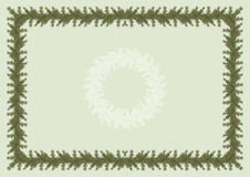 Diploma or invitation with Christmas tree. Green diploma or invitation, A4 format, with border, background and rosette on different layers. Christmas tree border Stock Photo