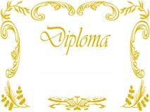 Diploma met gouden bloemeer stock illustratie