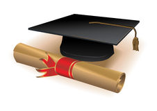 Diploma and mortar. Realistic detailed diploma.Only linear gradients used royalty free illustration