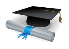Diploma and mortar. Realistic detailed diploma. Only linear gradients used vector illustration