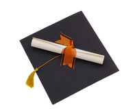 Diploma on Mortar Board Royalty Free Stock Photography