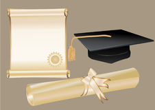 Diploma mortar and certificate Royalty Free Stock Photos