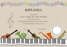 Diploma musical horizontal ilustração stock