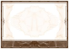 Diploma o frontera en blanco del certificado Foto de archivo libre de regalías