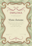 Diploma olive frame. Vector templat Royalty Free Stock Images