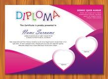 Diploma precioso del niño - certificado stock de ilustración
