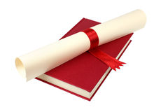Diploma on red book Royalty Free Stock Photography