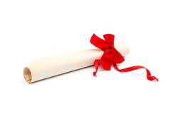 Diploma with red ribbon. On white background Stock Image