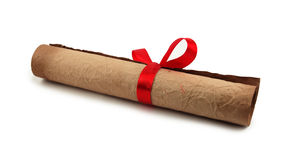 Diploma with red ribbon Royalty Free Stock Photography