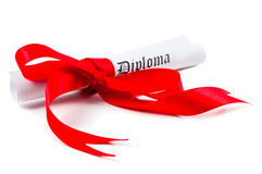 Diploma with red ribbon. On white background Royalty Free Stock Photos