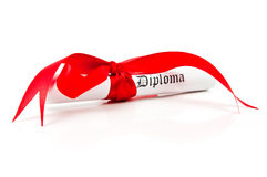 Diploma with red ribbon. On white background Royalty Free Stock Image