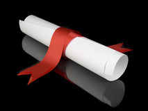 Diploma with red ribbon. Diploma with a red silk ribbon, isolated on black background Royalty Free Stock Photos