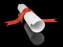 Diploma with red ribbon. Diploma with a red silk ribbon, isolated on black background Stock Images