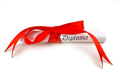 Diploma with red ribbon. On white background Royalty Free Stock Images