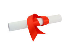 Diploma with red ribbon isolated Stock Photography