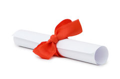 Diploma with red ribbon isolated Royalty Free Stock Photo