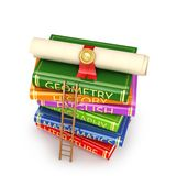 Diploma with a red ribbon on top of a stack of books with a tree staircase. stock illustration