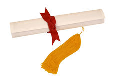 Diploma With Red Ribbon and Yellow Tassel Stock Photography