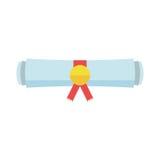 Diploma rolled scroll flat design icon. Finish education symbol. Graduation day celebration element. Graduate scroll vector illustration on white background Royalty Free Stock Photo