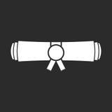 Diploma rolled scroll flat design icon. Finish education symbol. Graduation day celebration element. Graduate scroll vector illustration on black background Stock Photos
