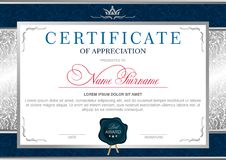 Diploma in the Royal style. Certificate in the official, solemn, elegant, Royal style in blue and silver tones, with the image of the crown and blue wax seal royalty free illustration